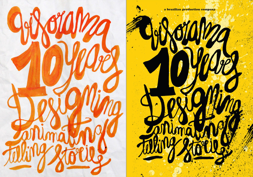 :: 10 years flyer (hand drawn lettering and the final result)