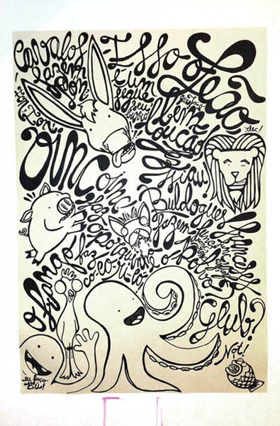 :: The farm gonne wild. With Elisa Branco. Pen on paper, 66x96 cm. 2011.