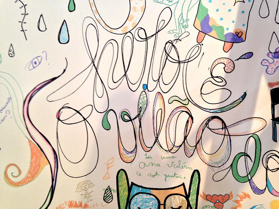 :: Por fim, minha contribuição final. Um lettering desenhado no muro, para as crianças pintarem. At the end, my final contribuition: a hand-drawn lettering at the wall, for the kids painting!